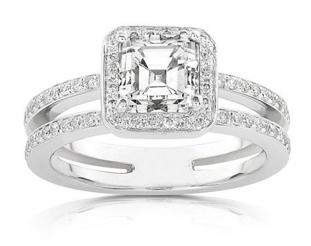 CZ Silver Engagement Ring