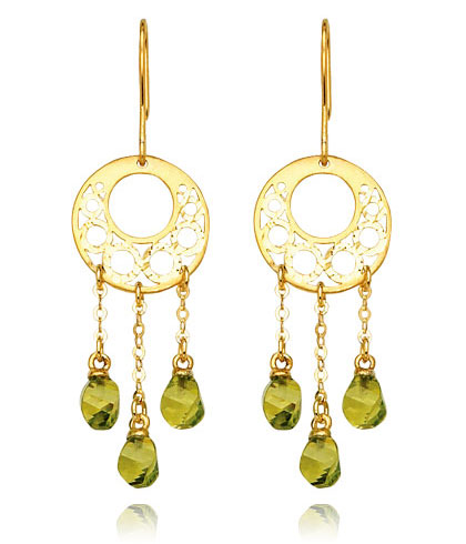 Diamond Peridot Earrings