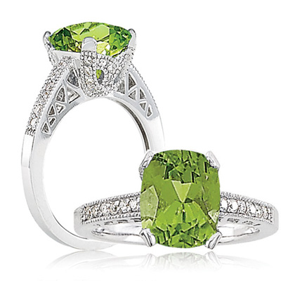 Diamond Peridot Ring
