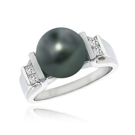 14K White Gold Tahitian Pearl & Diamond Ring