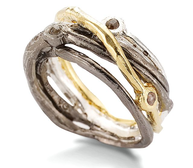 Gold Plated Sterling Silver Diamond Ring