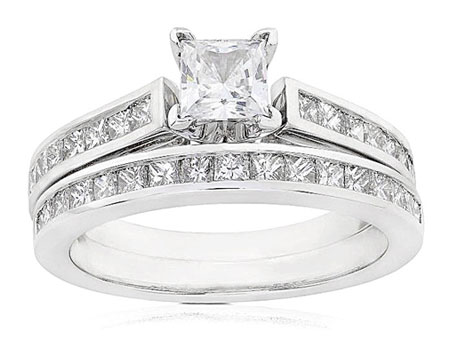 Sterling Silver Engagement Ring Set