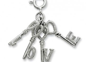 Silver Heart Love Keys Pendant