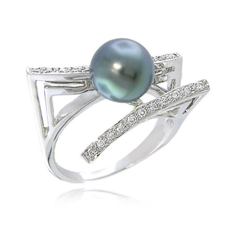 14K White Gold Diamond & 3D Tahitian Pearl Ring