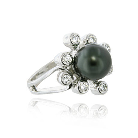 14K White Gold Tahitian Pearl & Diamond Sunburst Ring