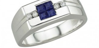 White Gold Sapphire Mens Ring
